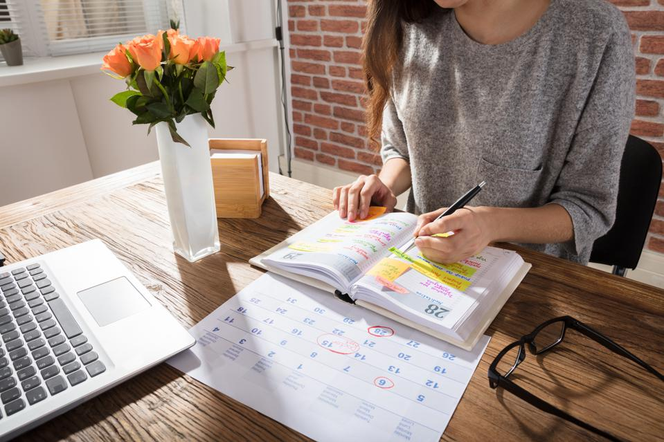 Businesswoman Making a Schedule On Personal Organiser