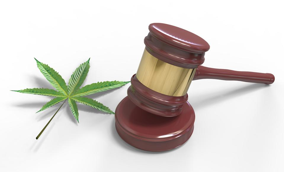 Gavel and Cannabis leaf isolated on white