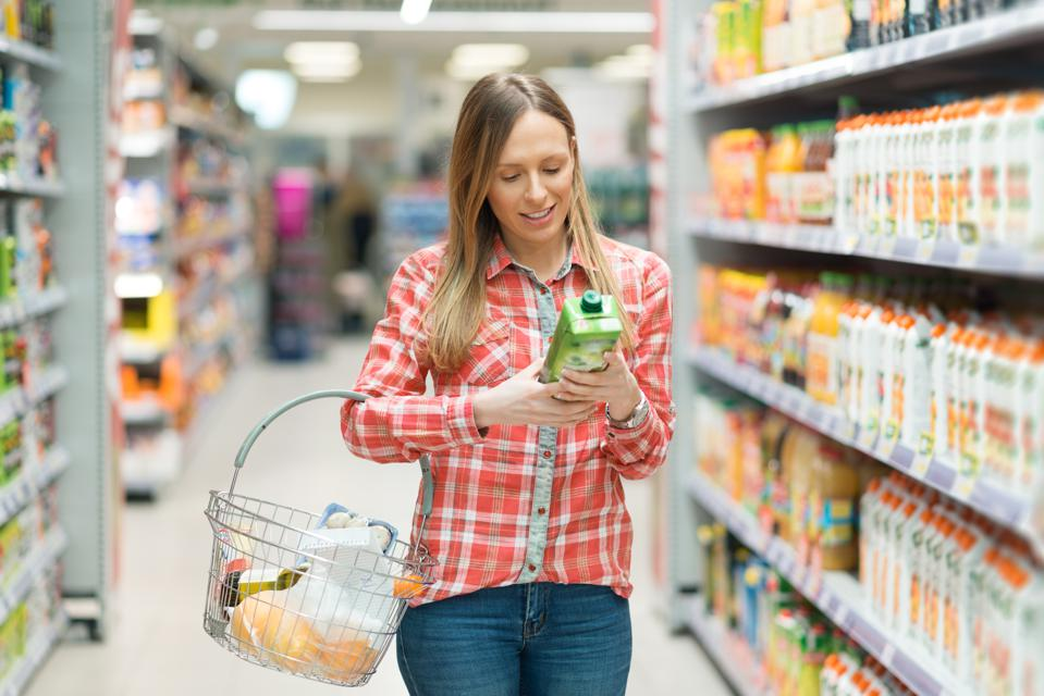 Young woman shopping groceries