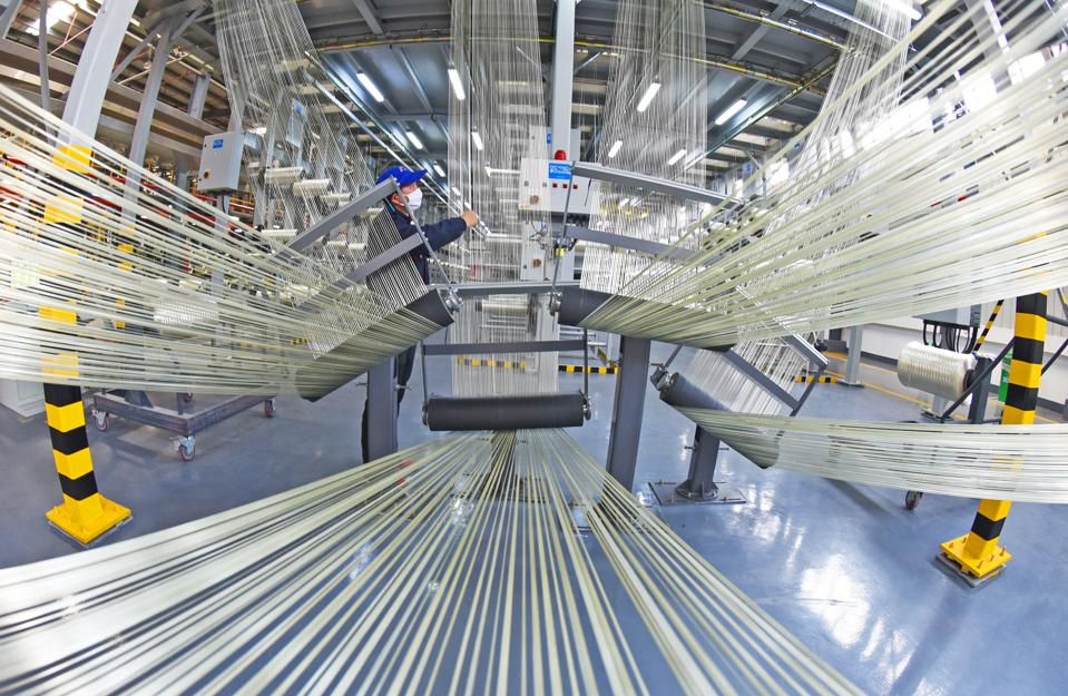 Employees Work On T1000 Carbon Fiber Production Line In Lianyungang