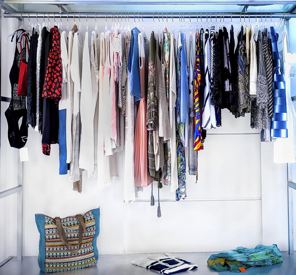 Rack of  colourful  dresses
