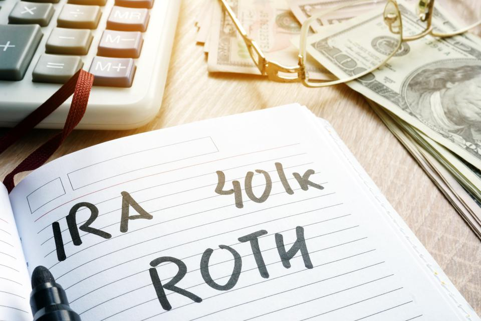 IRA 401k Roth Retirement plans.