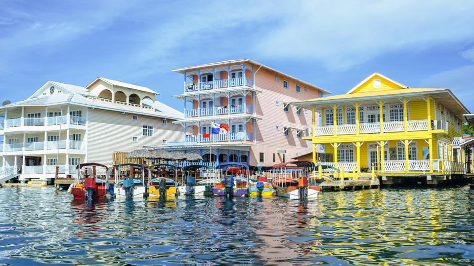 Houses on the sea in Bocas del Toro, Panama.