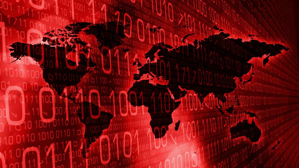 World cyber security red abstract technology concept