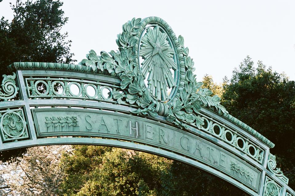 This is a photo of the ornate metalwork of Sather Gate, a focal point of the University of California, Berkeley campus.