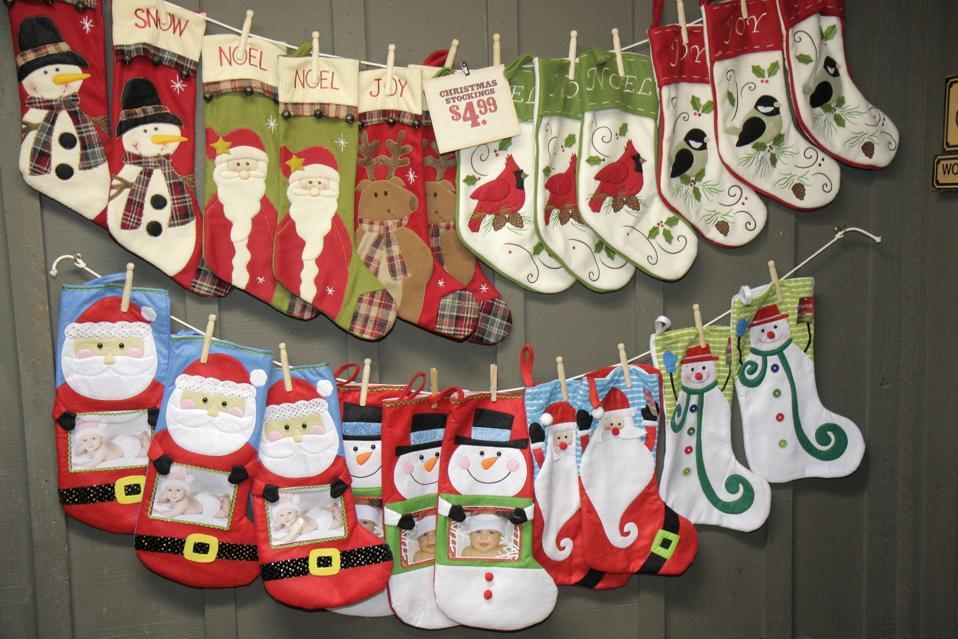 Christmas stockings in the Cracker Barrel Restaurant.