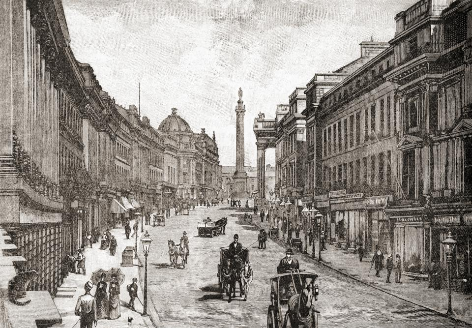 Earl Grey Street or Grey Street, Grainger Town, Newcastle upon Tyne, England in the 19th century