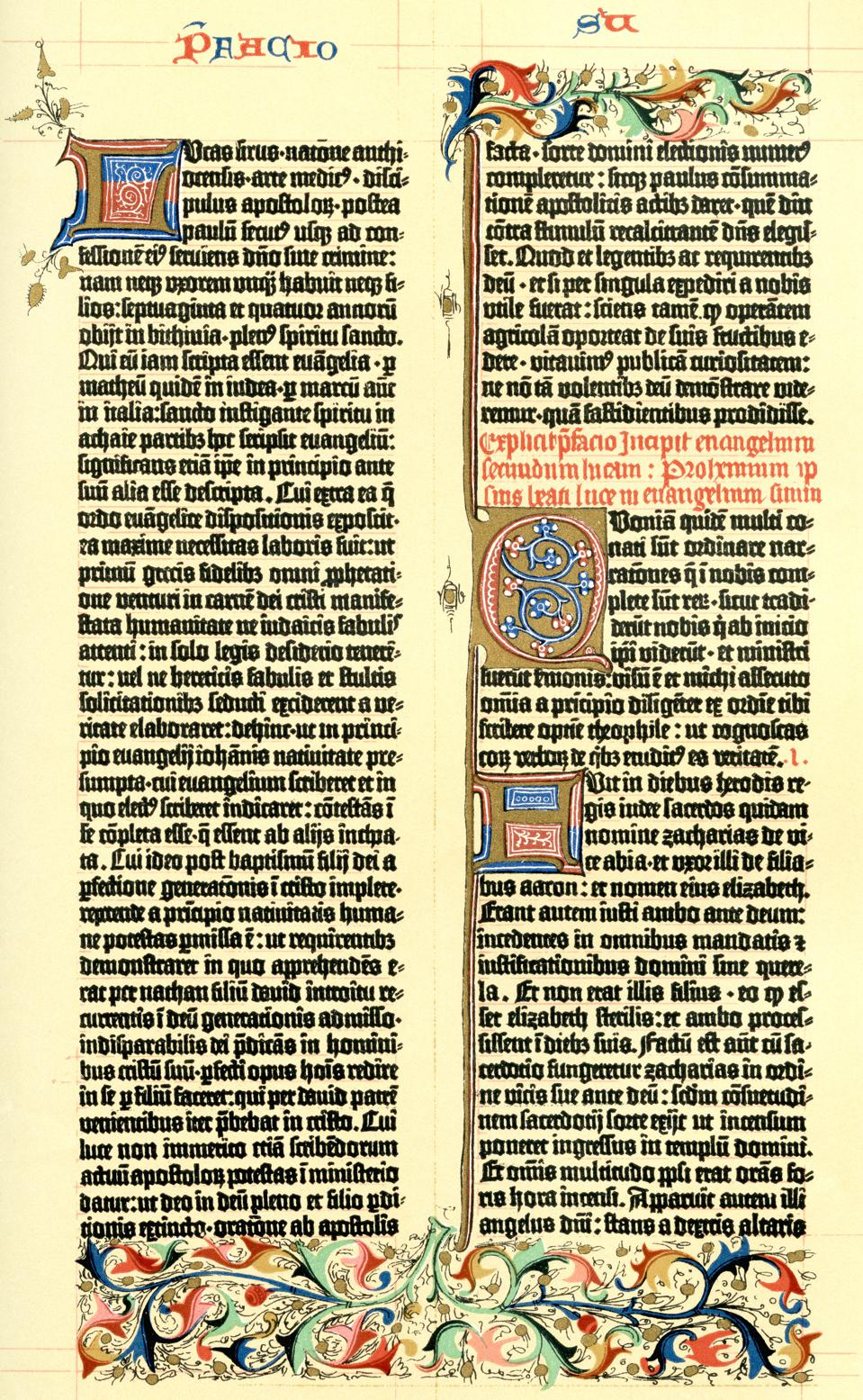 Sample from the 1455 parchment edition of the Gutenburg Bible
