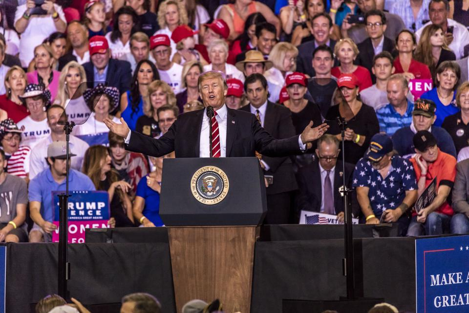 U.S. President Donald J. Trump speaks to crowd of supporters at rally