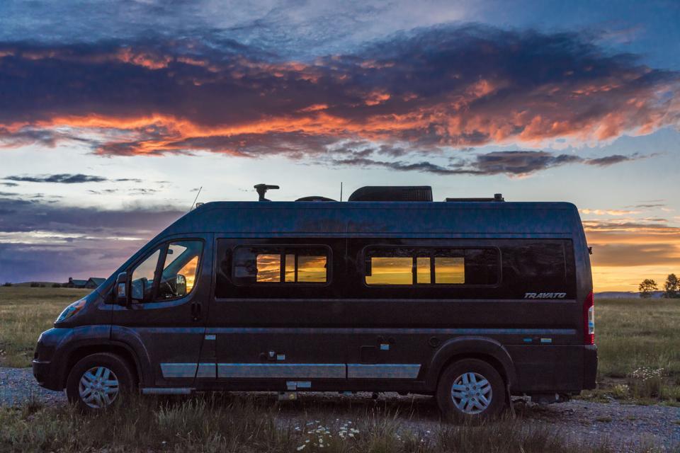 Winnebago, Colorado at sunset, CLASS C Motorhome
