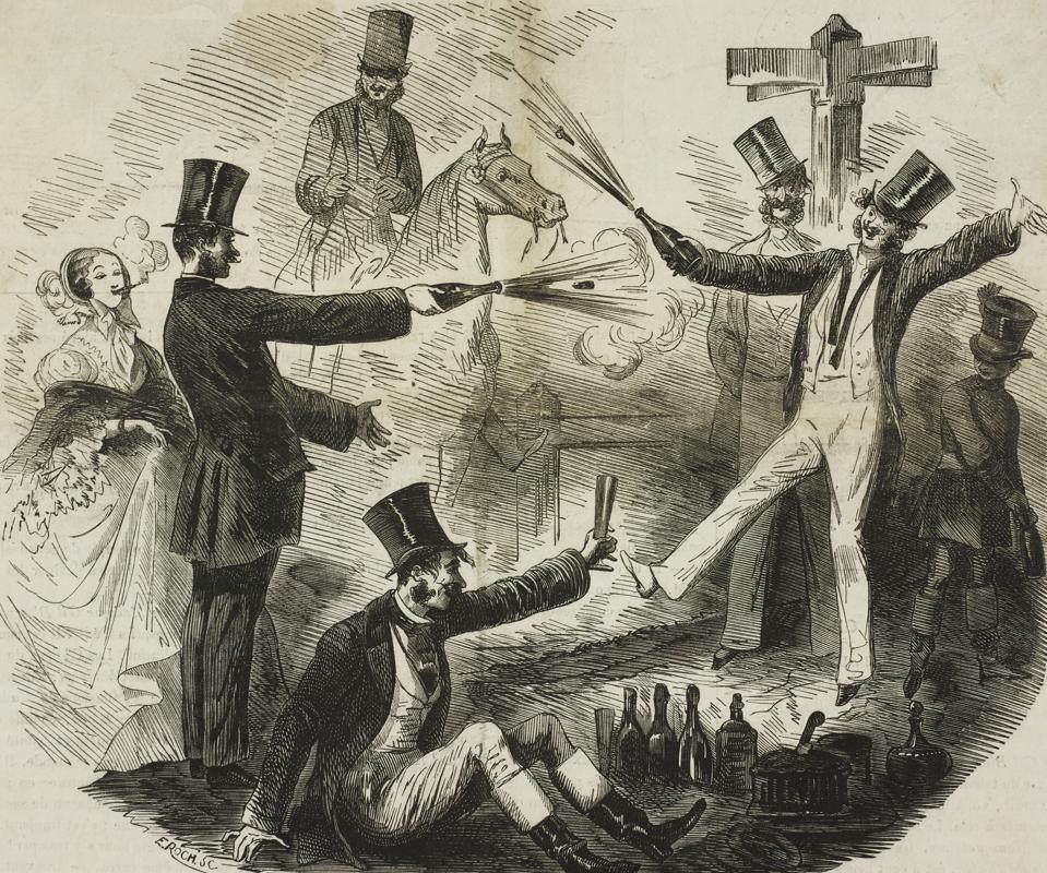 A duel with bottles of champagne
