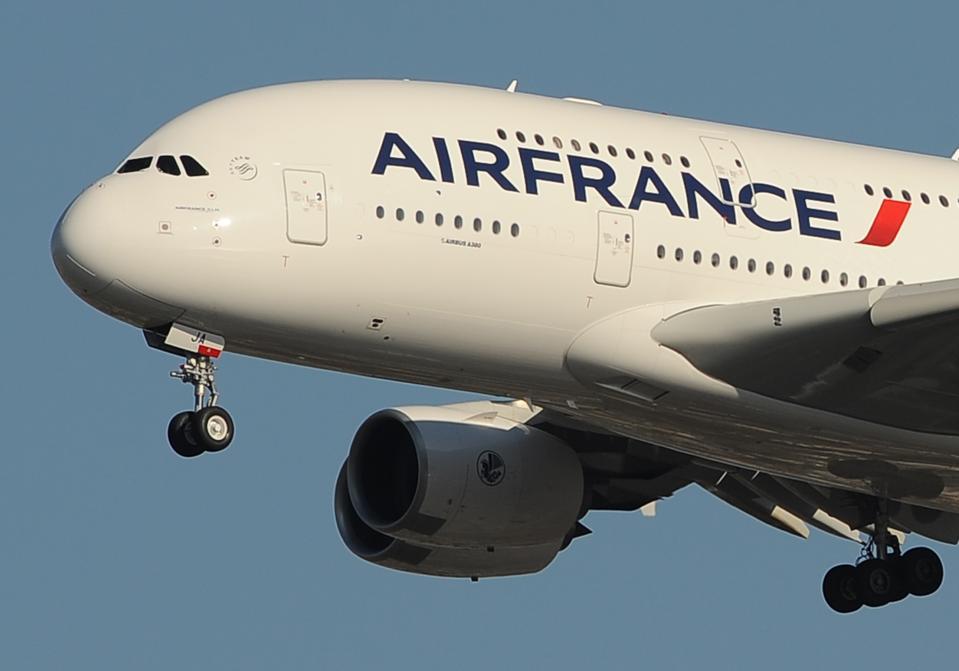 An Air France Airbus A380 plane makes it