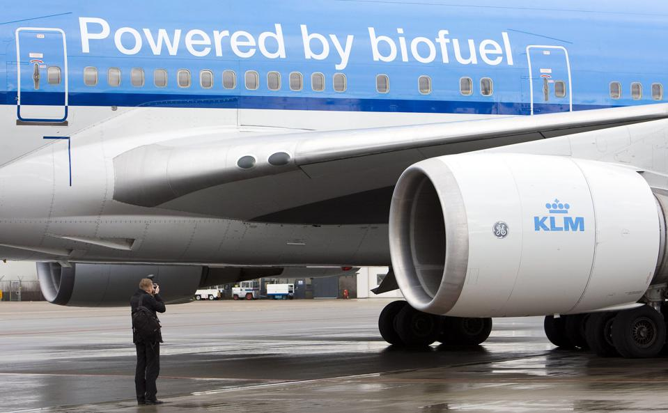 The KLM airplane which runs on biokerose