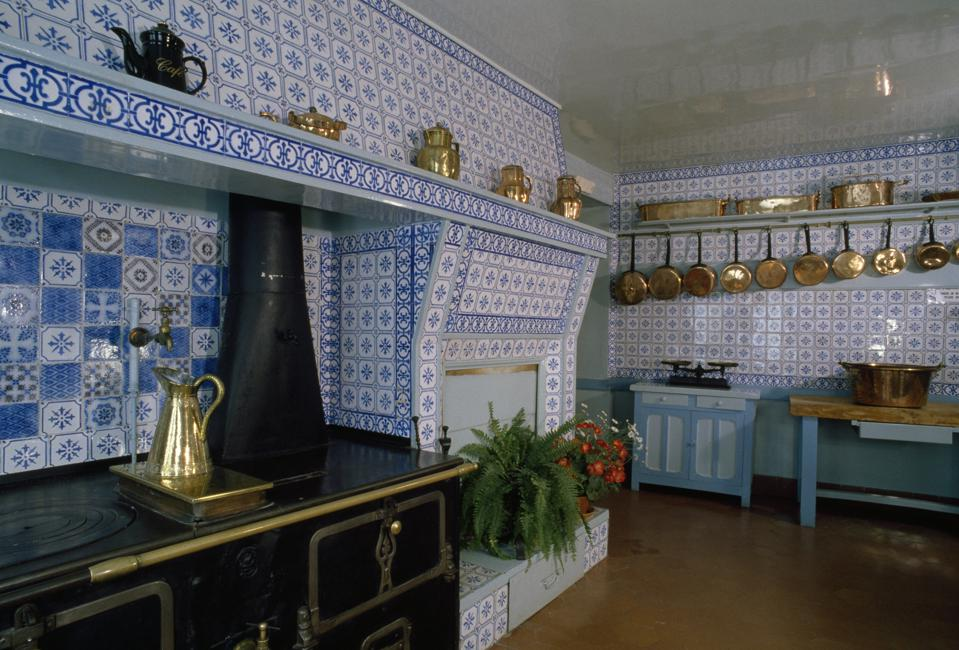 Blue kitchen in the house of Claude Monet, Giverny