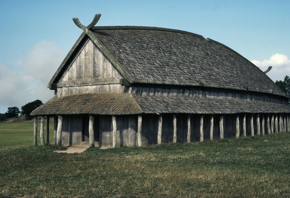 Reconstruction of wooden Viking house, Trelleborg