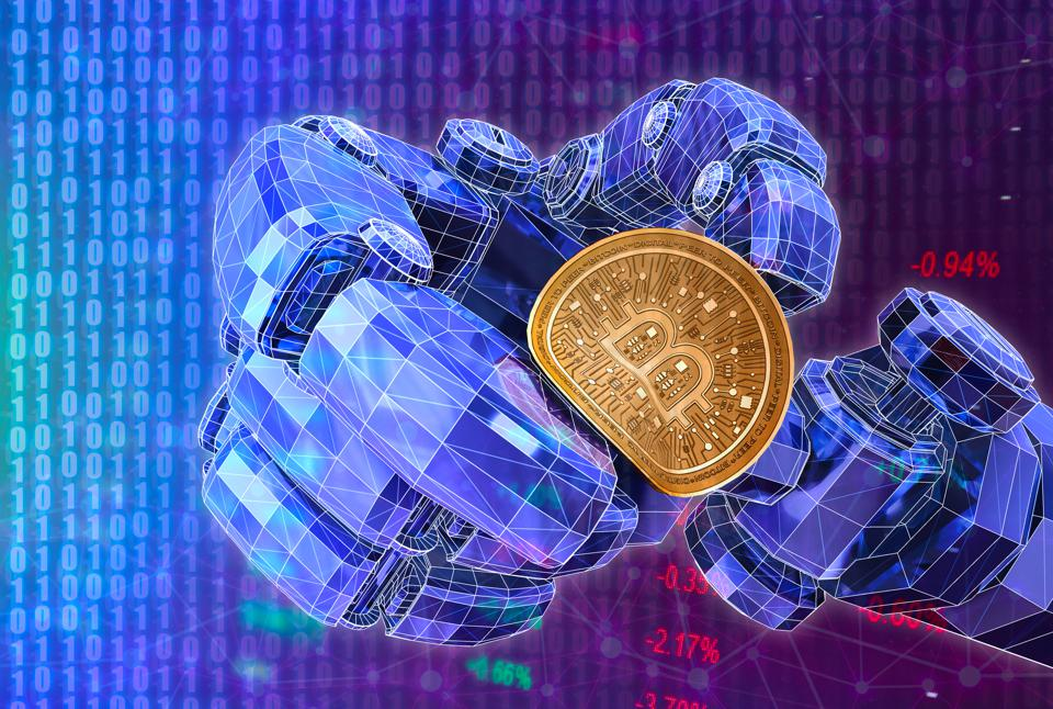 3D rendering, Robot's hand squeeze bitcoin with abstract digital background.