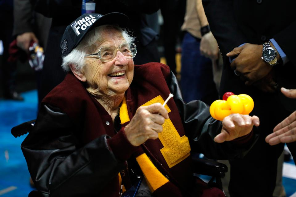 Sister Jean Dolores Schmidt after Loyola beat Kansas State in the 2018 NCAA tournament.