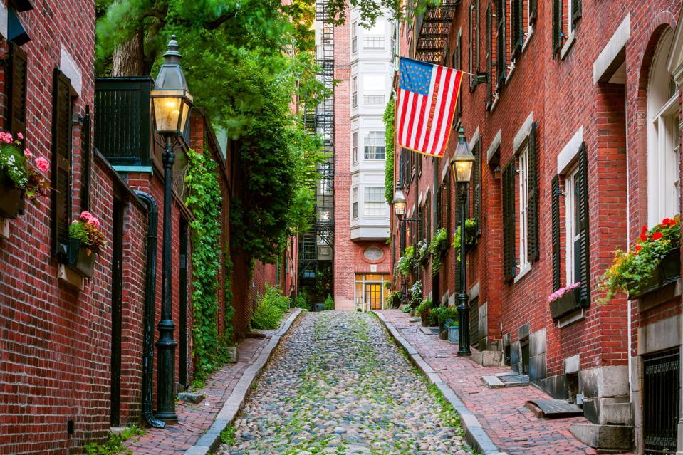 Red Brick, Acorn Street, Boston, Massachusetts, America