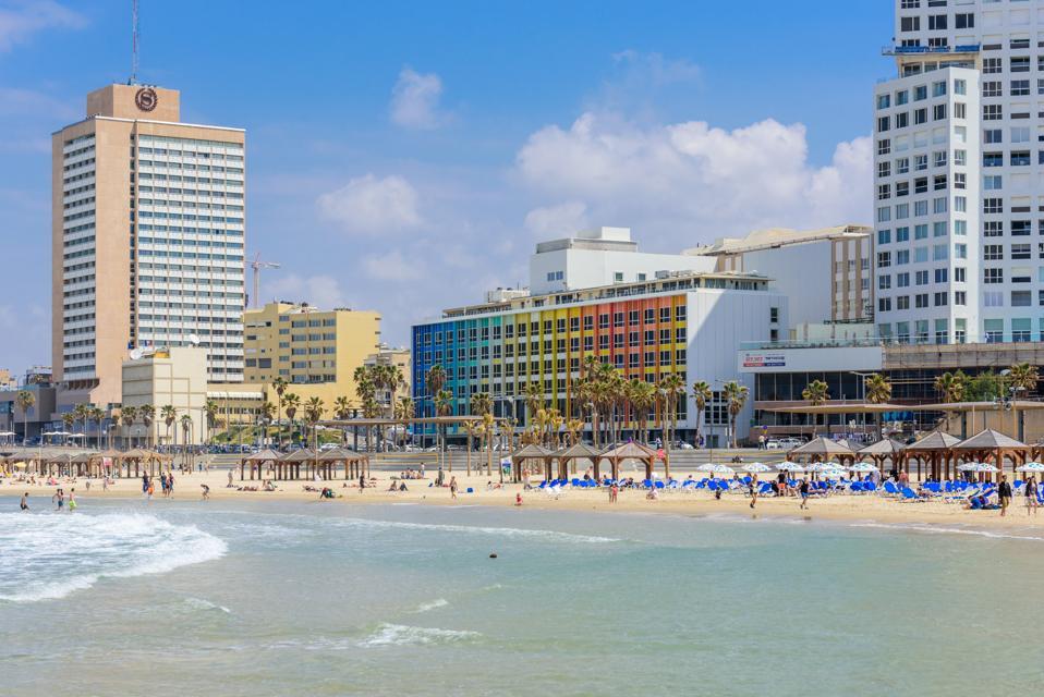 Beachgoers at Frishman Beach - april 7th 2017, Tel Aviv-Yafo, Israel