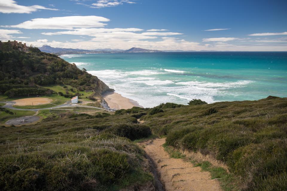 scenic hike on coastal footpath in bidart, basque country, france scenic hike on coastal footpath in bidart,wth view on mountain Jaizkibel, basque country, france