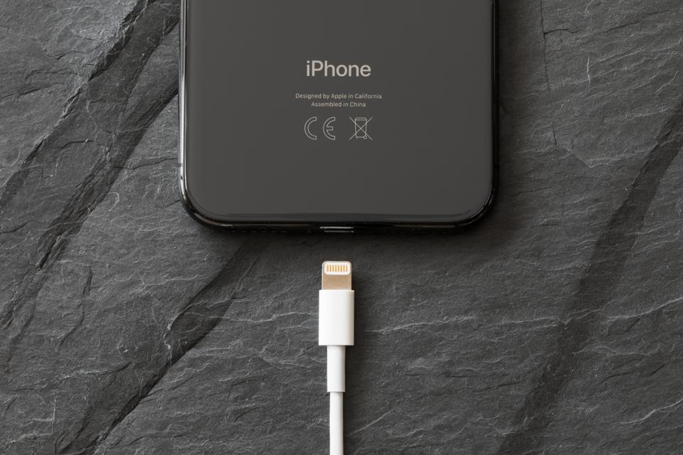 Latest generation iPhone X with charger connector.