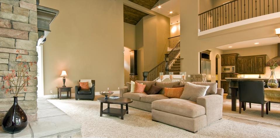 Living Room Panorama in Luxury Home