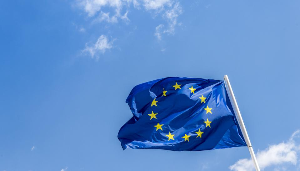 European Union EU flag against a blue sky. Soon there will be one less star since the UK voted to leave the EU in 2016,