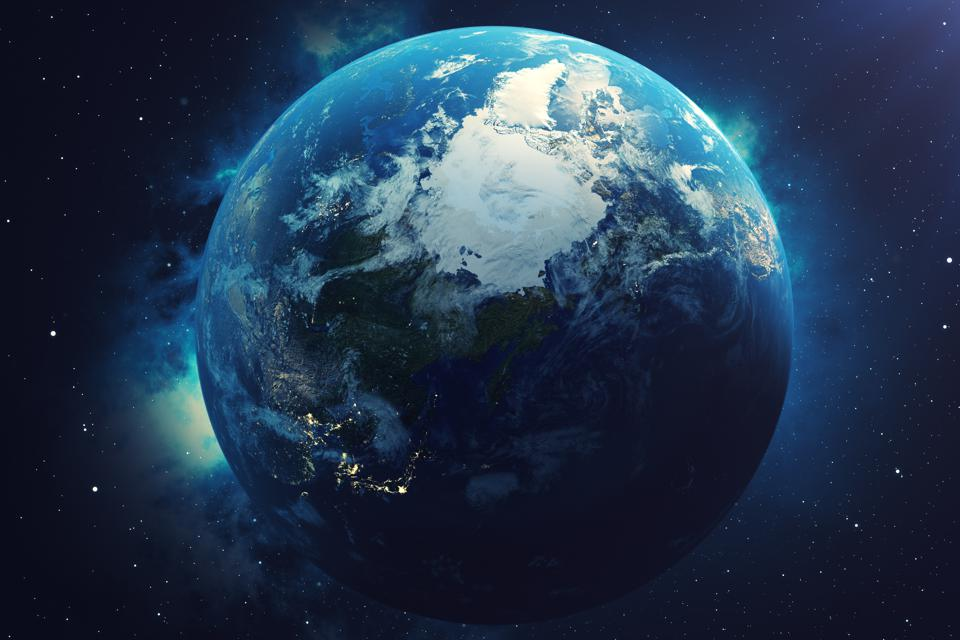 3D Rendering World Globe. Earth Globe with Backdrop Stars and Nebula. Earth, Galaxy and Sun From Space. Blue Sunrise. Elements of this image furnished by NASA.