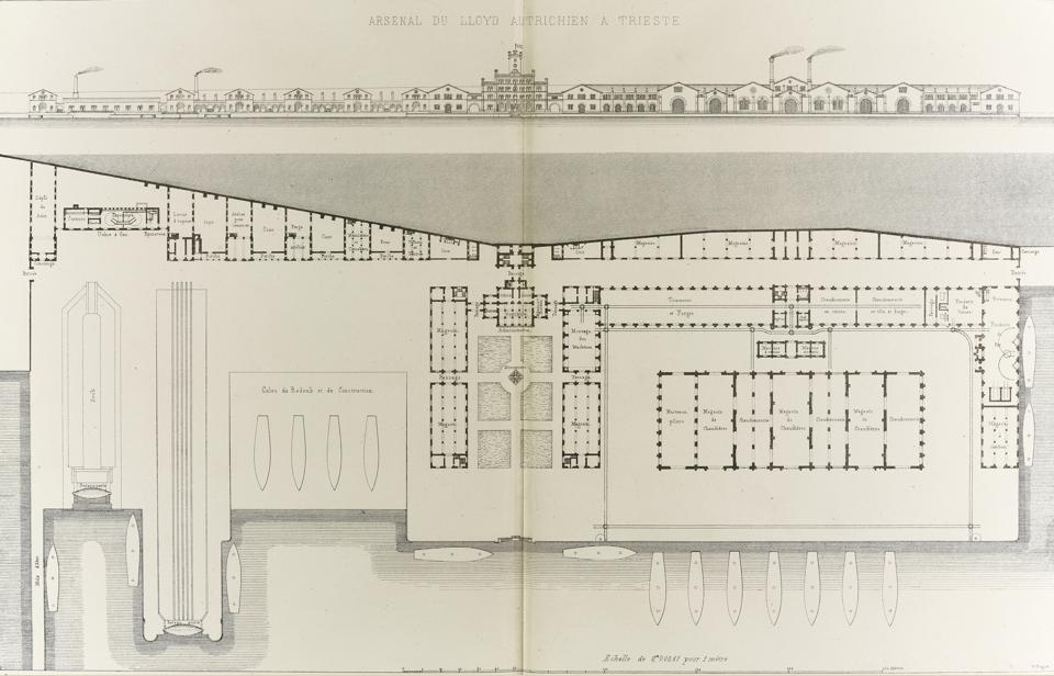 Front elevation and plan of Lloyd Arsenal, Trieste