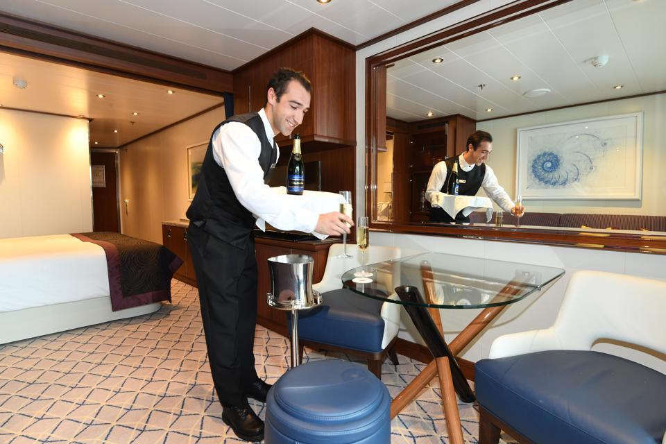 Champagne service in a Seabourn Encore stateroom