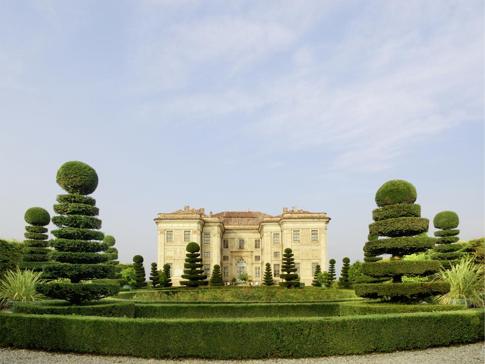 View of Guarene castle from the garden, luxurious hotel, Piedmont