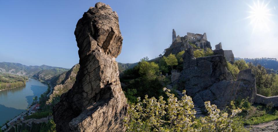 Durnstein castle during spring time in Wachau, Austria
