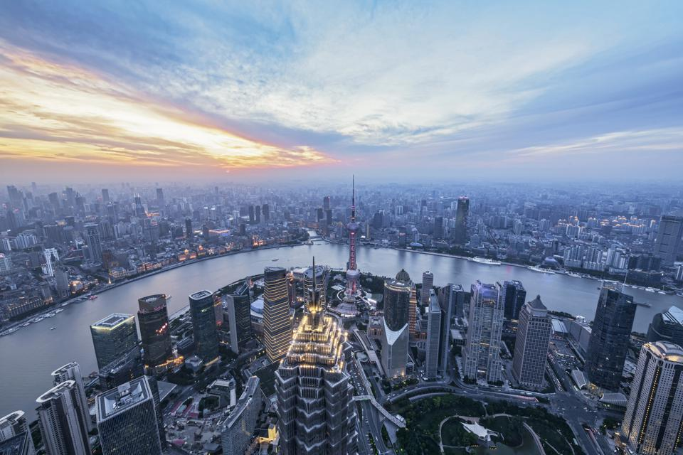 Elevated View Of Shanghai Lujiazui At Dusk