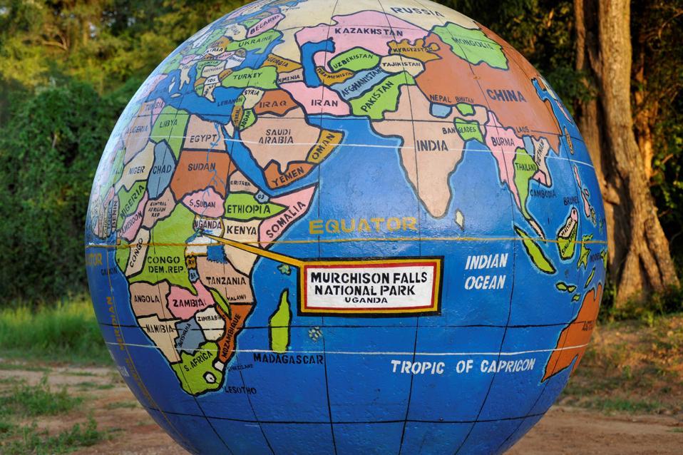 Uganda. World Map At Nile River Deck