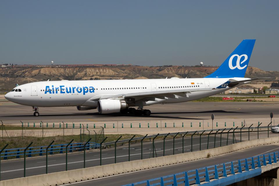 Air Europa Airbus 330-200 on the taxiway at Madrid Barajas...