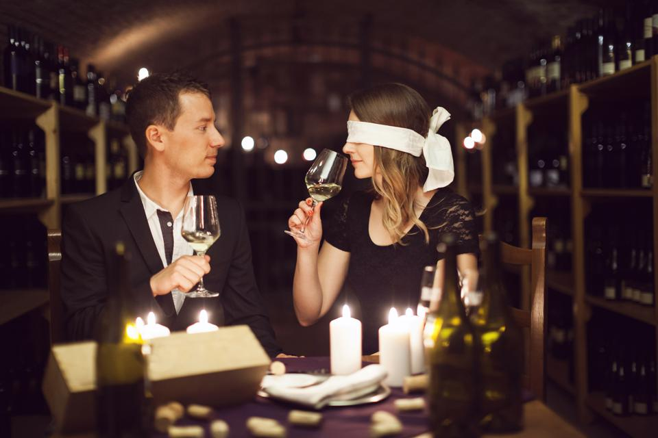 Adult Couple on Blindfolded Wine Tasting Date