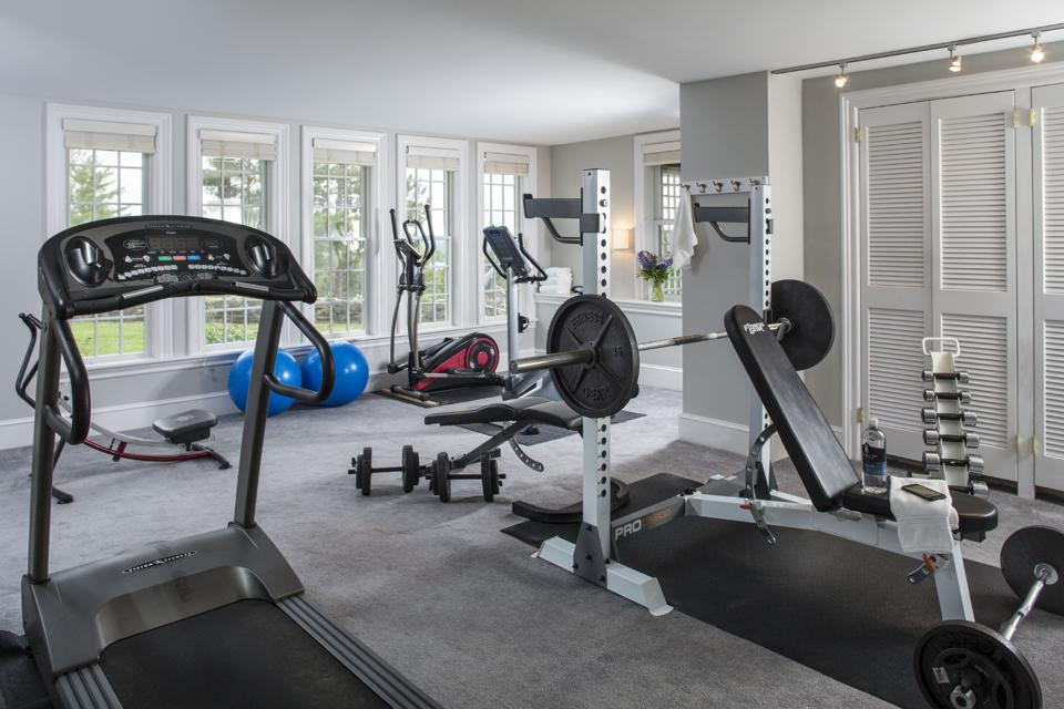 Gym with treadmills weights and machines
