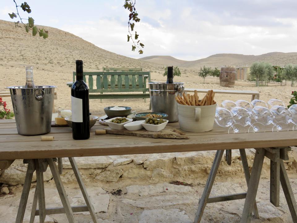 Gourmet picnic in the desert