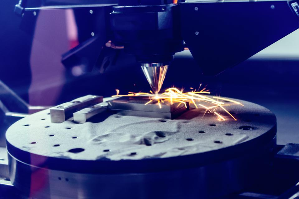 3D metal printer produces a steel part