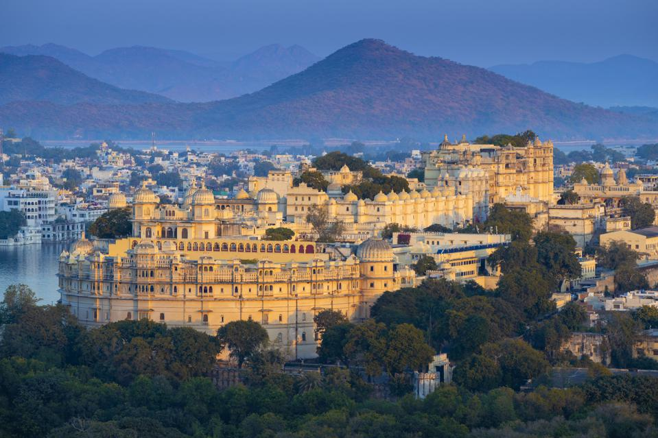 View of City Palace on lake pichola in Udaipur, Rajasthan, India
