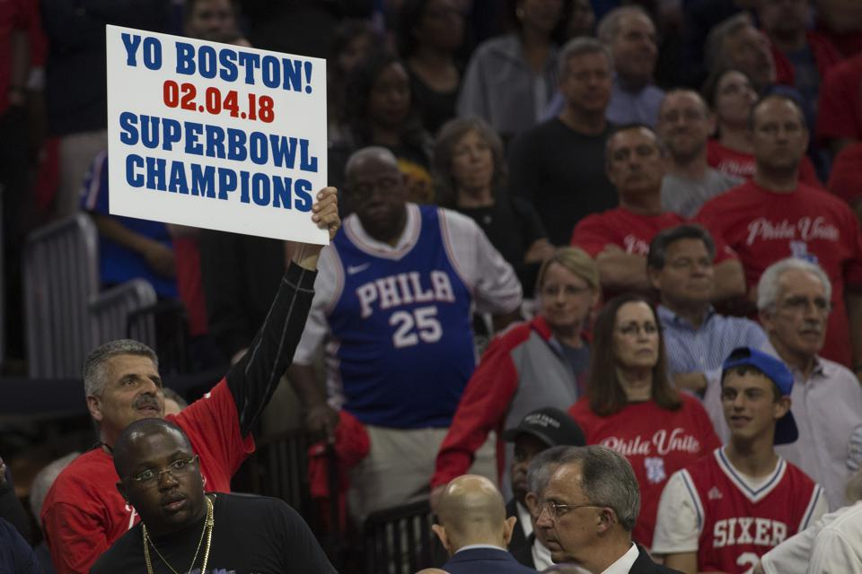 76ers fan reminds the Boston Celtics who won Super Bowl LII.