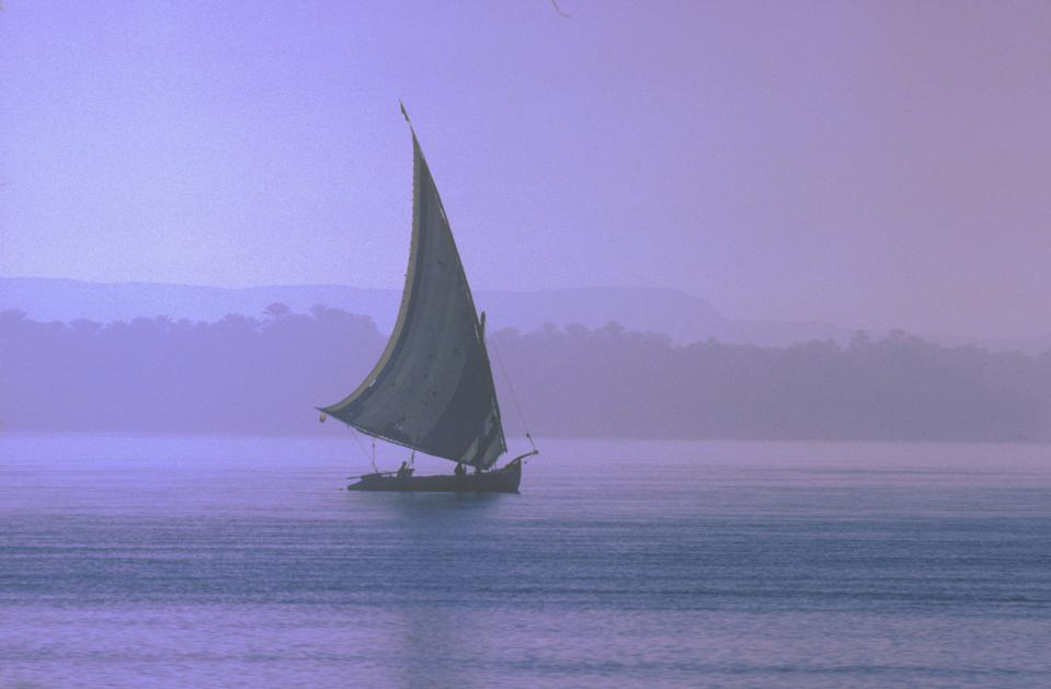 Felucca sail boat on the Nile river, 1977...