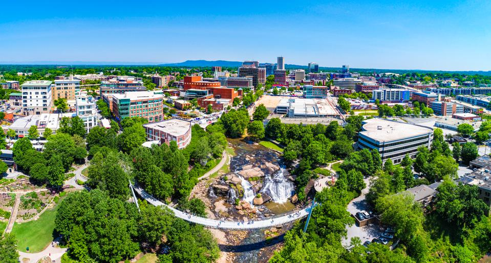 Drone City Aerial of Downtown Greenville South Carolina Clemson MRED