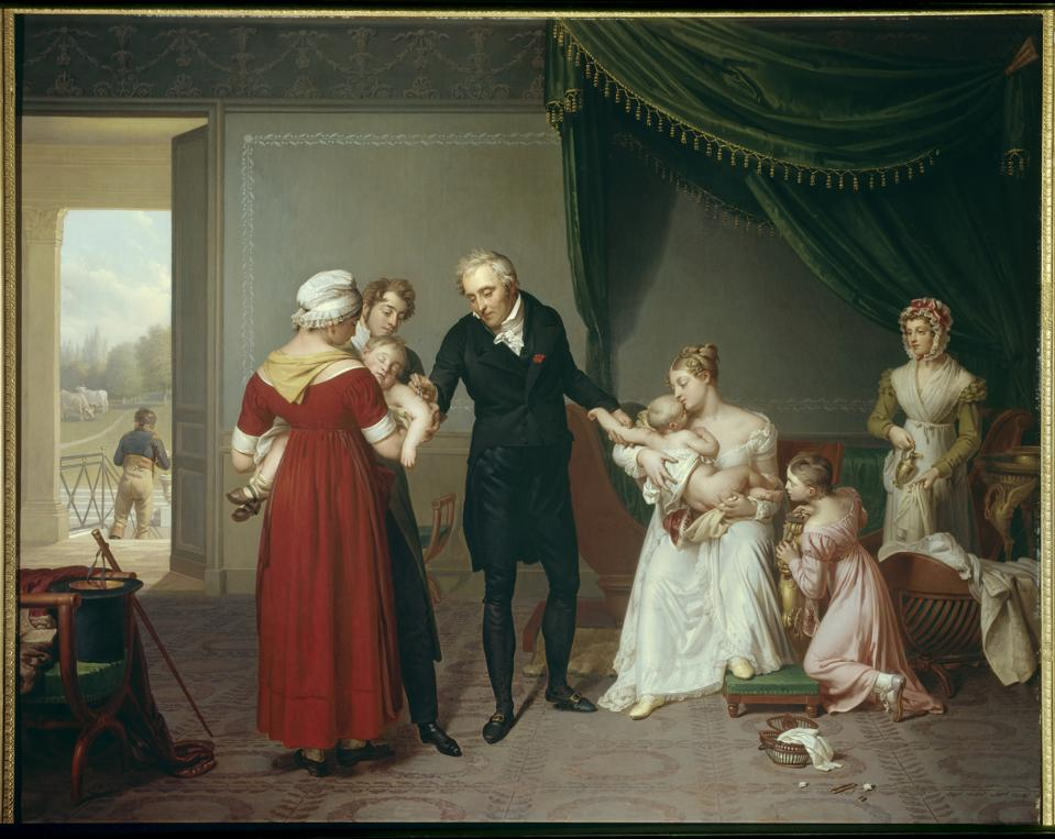 Alibert vaccinating a child against smallpox at the Chateau de Liancourt 1820