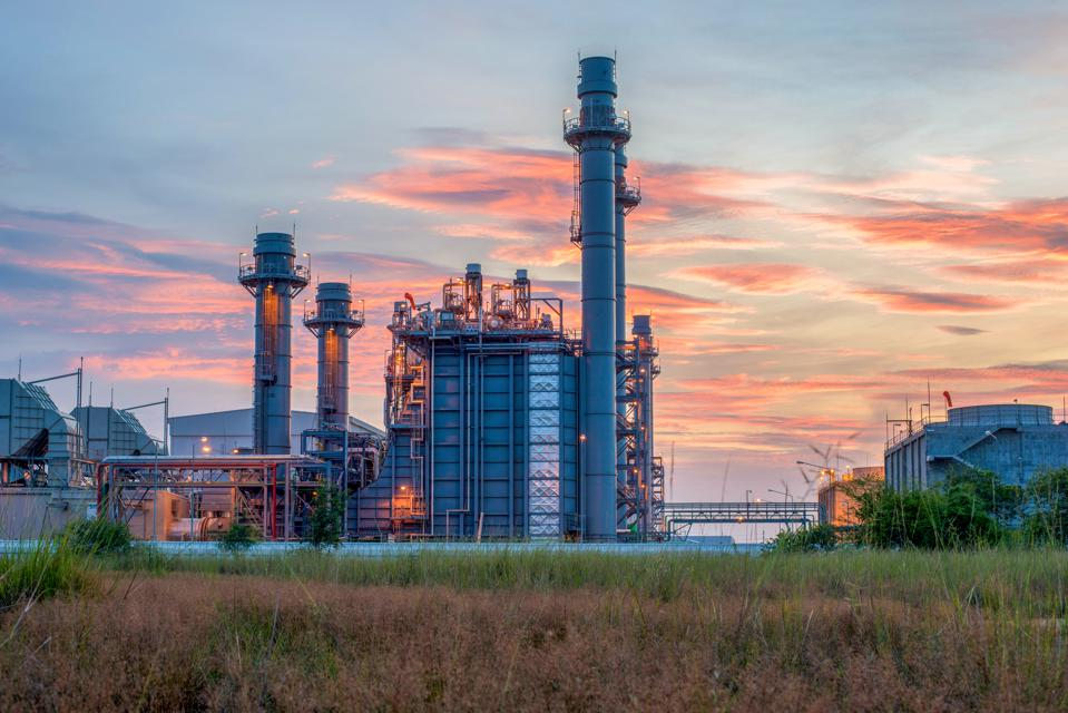 power stations sunset