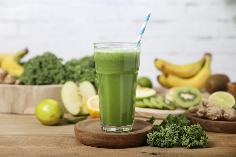 Image of a fruit and vegetable smoothie.