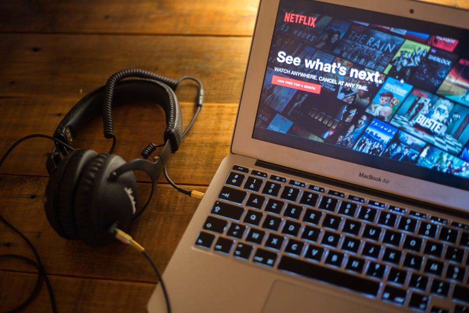 The Netflix website seen displayed on a Apple MacBook Air...
