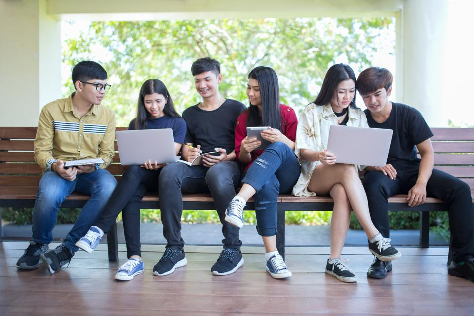 Back to school education knowledge college university concept, Young people being used computer and tablet, Education and technology concept.