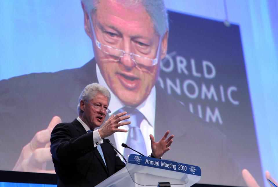 Former US President Bill Clinton At World Economic Forum Meeting in Davos
