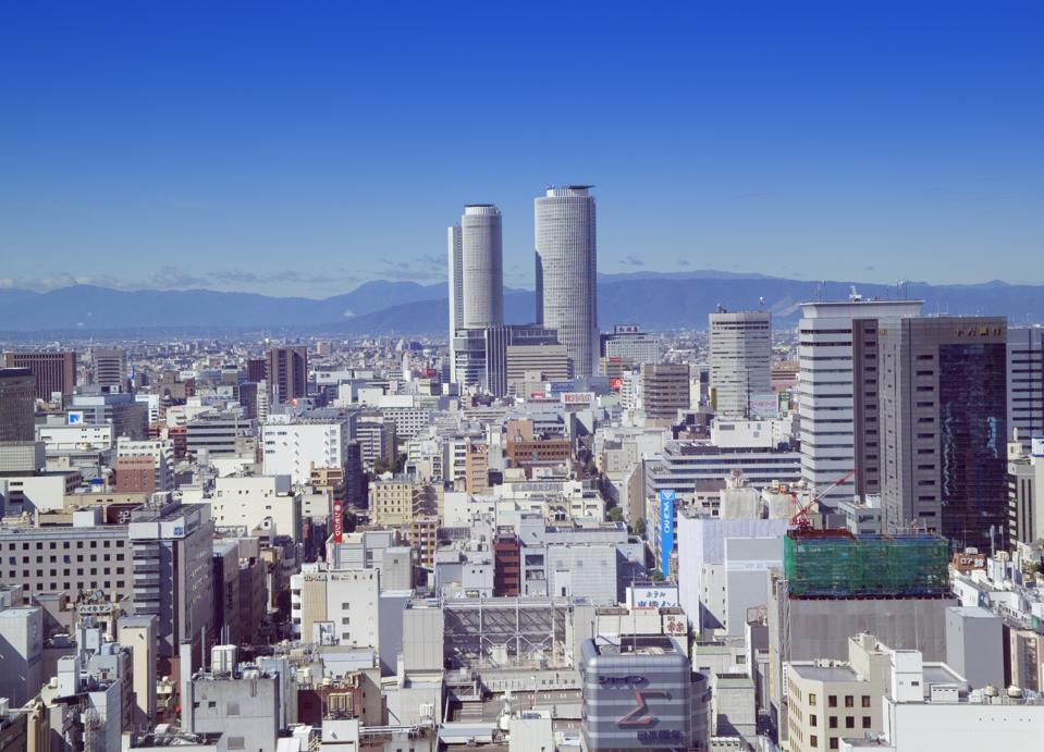 JR Central Towers and surrounding buildings, Naka-ku, Nagoya, Aichi Prefecture, Japan